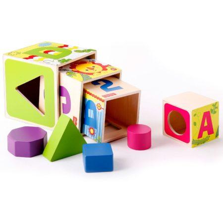 Fisher Price Shape Sorter Stacking Blocks - Wooden Toy-0