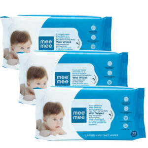 Mee Mee Caring Baby Wet Wipes with Aloe Vera Pack of 3 - 72 pcs-0
