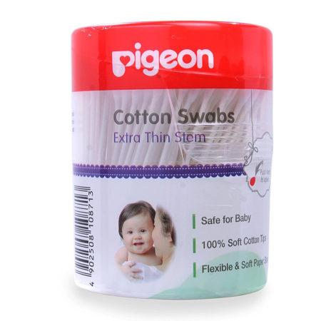 Pigeon Cotton Swabs Thin Stem, 200Pcs/Hinged Case-0