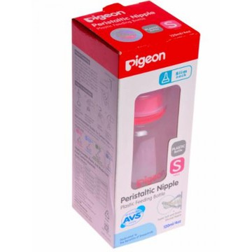 Pigeon Slim Neck Peristaltic Nipple Slow Flow Feeding Bottle Red - 120 ml-0