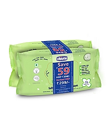 Chicco Soft Cleansing Wipes Pack of 2 - 72 Pieces each-0