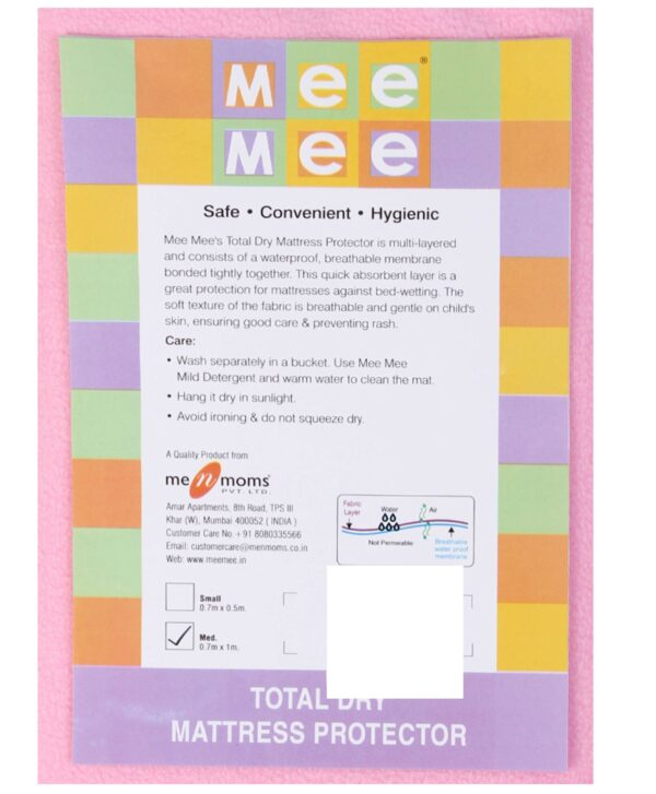Mee Mee Total Dry Mattress Protector Pink - Medium-573