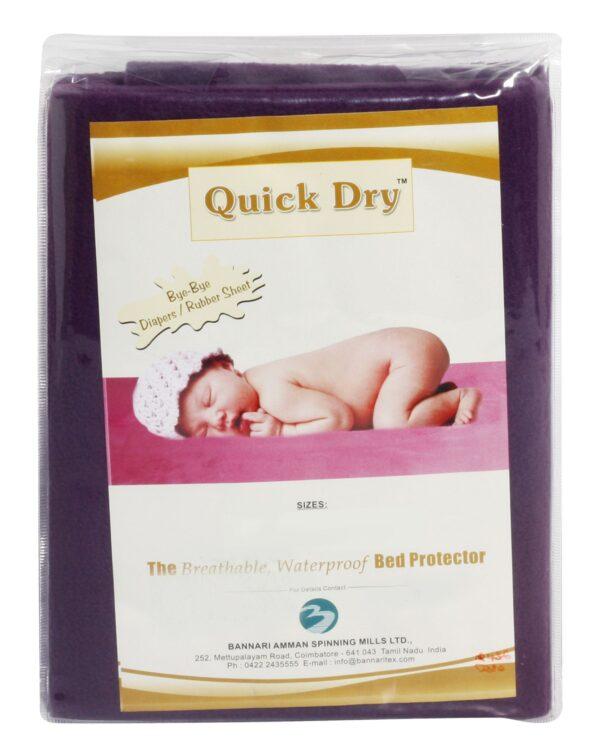 Quick Dry Plain Waterproof Bed Protector Sheet (S) - Plum-3274