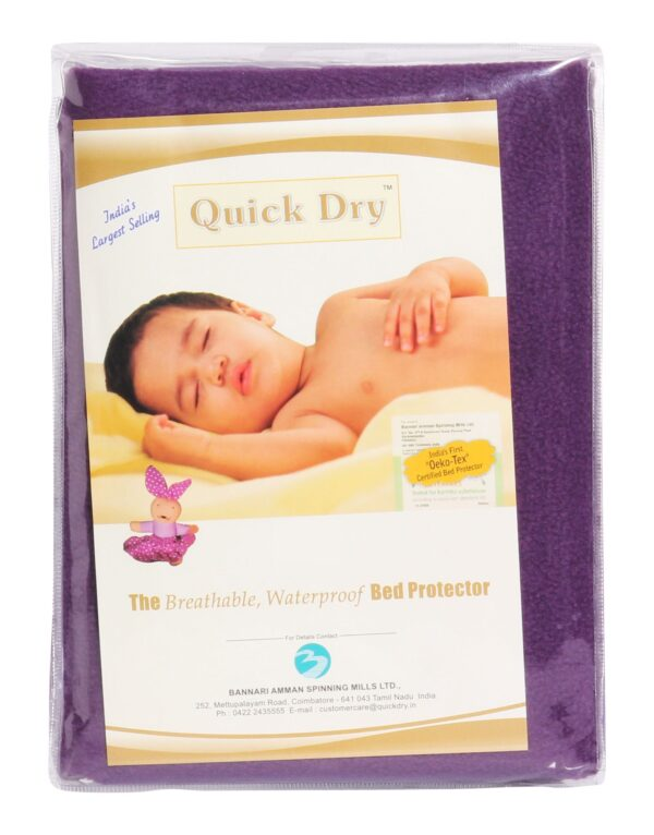 Quick Dry Plain Waterproof Bed Protector Sheet (S) - Plum-3271