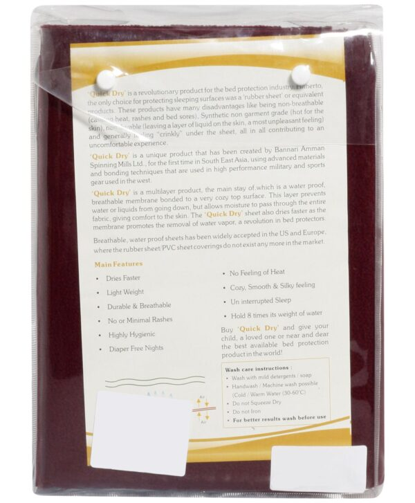 Quick Dry Plain Waterproof Bed Protector Sheet (S) - Dark Maroon-3288