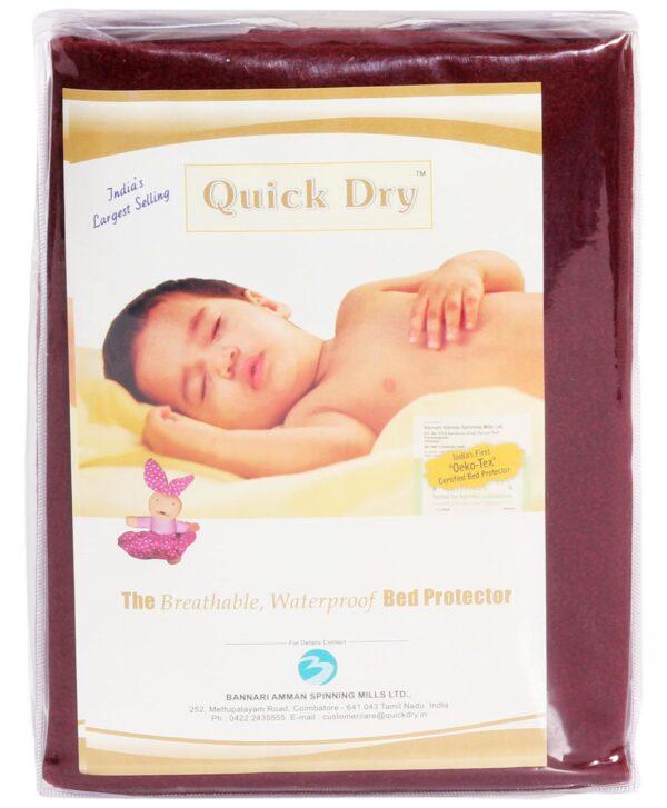 Quick Dry Plain Waterproof Bed Protector Sheet (S) - Dark Maroon-3289