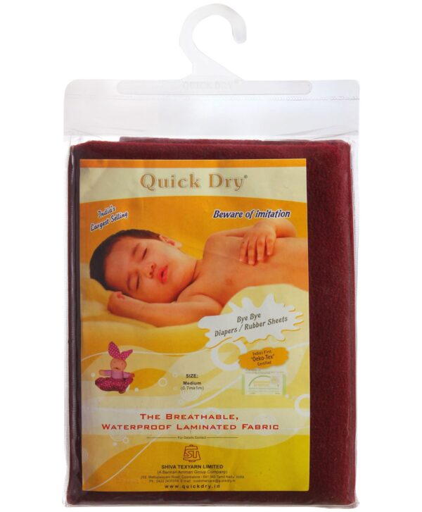 Quick Dry Plain Waterproof Bed Protector Sheet (S) - Dark Maroon-3287