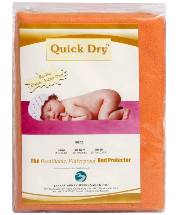 Quick Dry Plain Waterproof Bed Protector Sheet (S) - Peach-3284