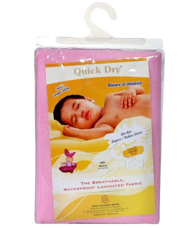 Quick Dry Plain Waterproof Bed Protector Sheet (S) - Pink-6165