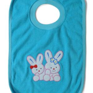 Babys World Hunny Bunny Print Round Neck Cotton Bib - Blue-0