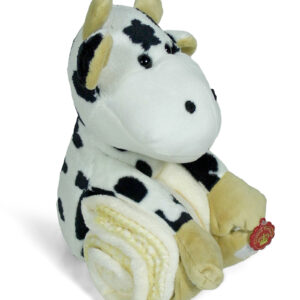 Luvena Fortuna Soft Blanket With Cow Plush Animal Toy - Brown-0