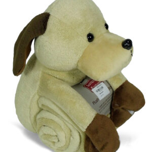 Baby Soft Blanket With Dog Plush Animal Toy - Brown-0