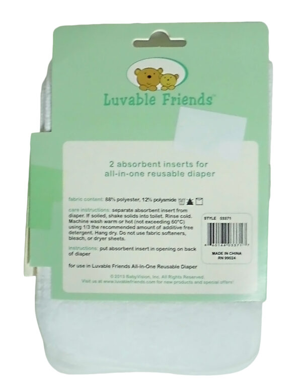 Luvable Friends Absorbent Liner For Reusable Diaper - Pack of 2-3107