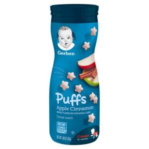Gerber Graduates Cereal Snack Puffs Apple Cinnamon (8M+) - 42gm NON GMO-0