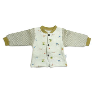 Full Sleeves Quilted Vest - White Olive-0
