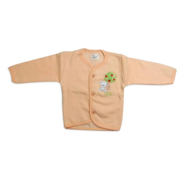 LIttle Darling Full Sleeves Fleece Vest - Peach-0
