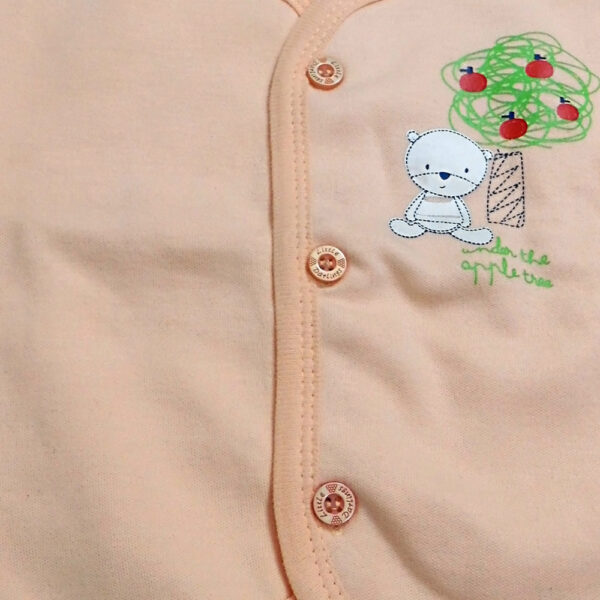 LIttle Darling Full Sleeves Fleece Vest - Peach-4080