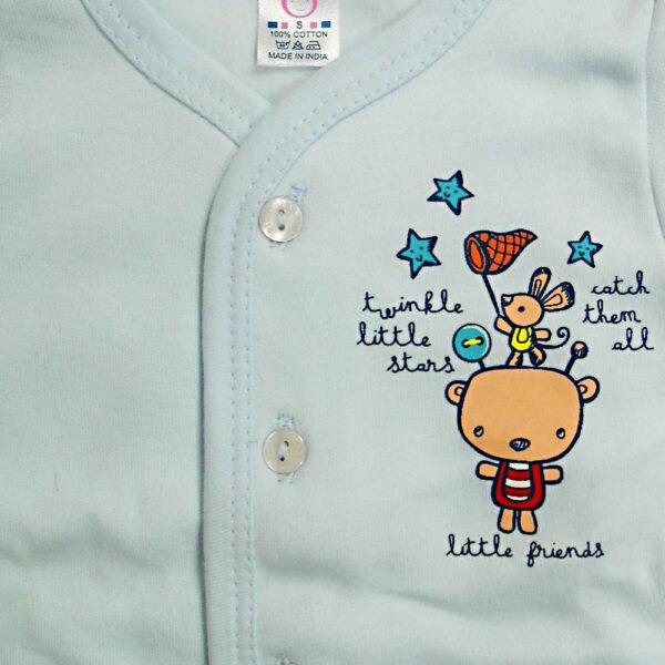 Pink Rabbit Full Slives Fleece Vest - Blue-4106
