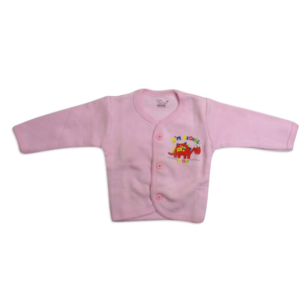 Little Darling Full Sleeves Fleece Front Open - Pink-0