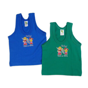 Cucumber Sleeveless Vest, Set Of 2 - Green & Blue-0