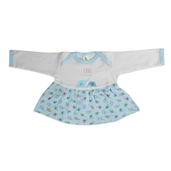 Cucumber Full Sleeves Cotton Frock - Sky Blue-0