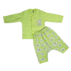 Zero Front Open Vest With Pooh Print Diaper Legging - Green-0