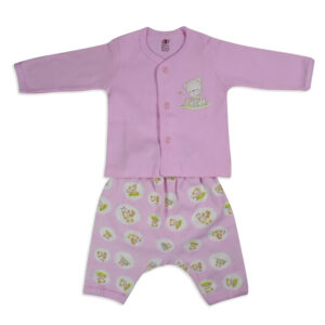 Zero Full Sleeves Front Open Vest With Diaper Legging - Pink-0