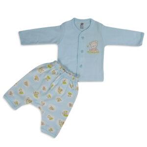Zero Full Sleeves Front Open Vest With Diaper Legging - Sky Blue-0