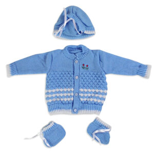 FULL SLEEVES SWEATER WITH KNIT CAPS & BOOTIES - Blue-0