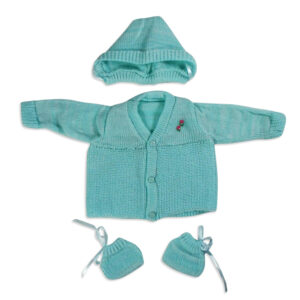 FULL SLEEVES SWEATER WITH KNIT CAPS & BOOTIES - Sky Blue-0
