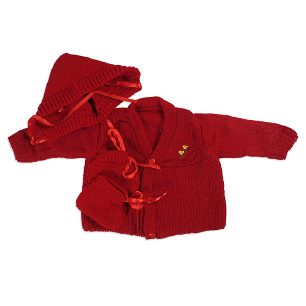 FULL SLEEVES SWEATER WITH KNIT CAPS & BOOTIES - Crimson Red-4201