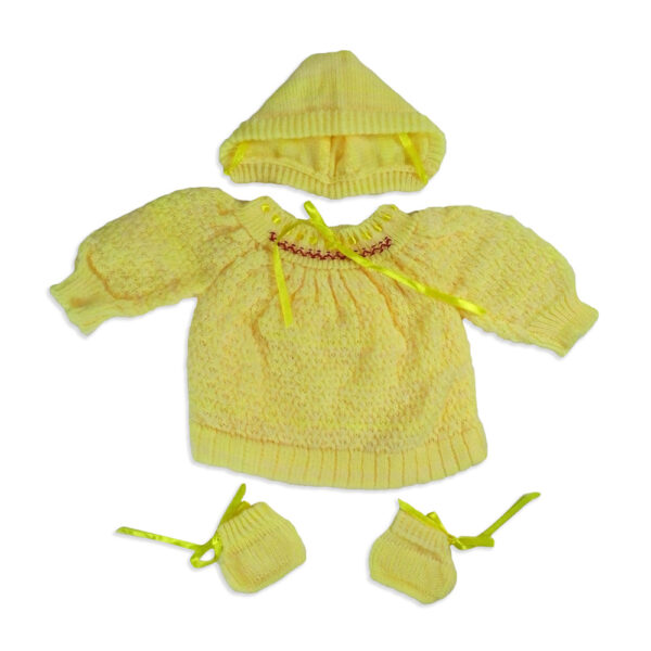 FULL SLEEVES SWEATER WITH KNIT CAPS & BOOTIES - Yellow-0