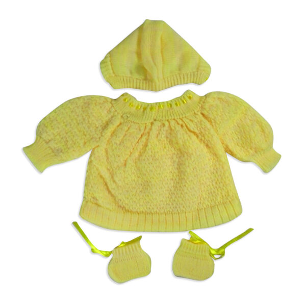 FULL SLEEVES SWEATER WITH KNIT CAPS & BOOTIES - Yellow-4204