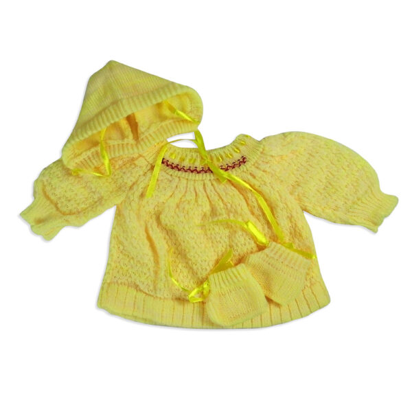 FULL SLEEVES SWEATER WITH KNIT CAPS & BOOTIES - Yellow-4203