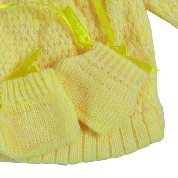 FULL SLEEVES SWEATER WITH KNIT CAPS & BOOTIES - Yellow-4206