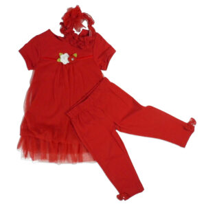 Fancy Dress With Capry & Hair Band - Red-0