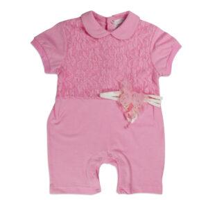 Mini Baby Half Sleeves Back Open Romper - Pink-0