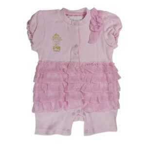 Half Sleeves Fancy Romper, Onesies, Bodysuit - Pink-0