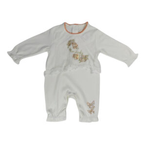 Mini Baby Full Sleeves Back Open Romper - White-0