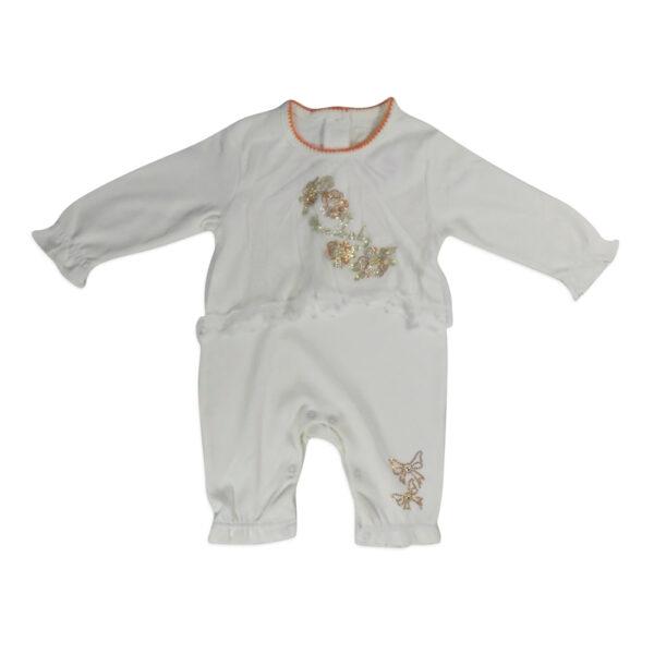 Mini Baby Full Sleeves Back Open Romper - White-0