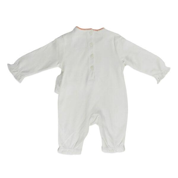 Mini Baby Full Sleeves Back Open Romper - White-4651