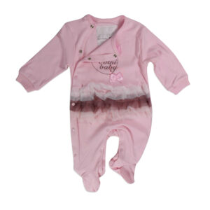 Mini Baby Full Sleeves Footed Romper - Pink-0