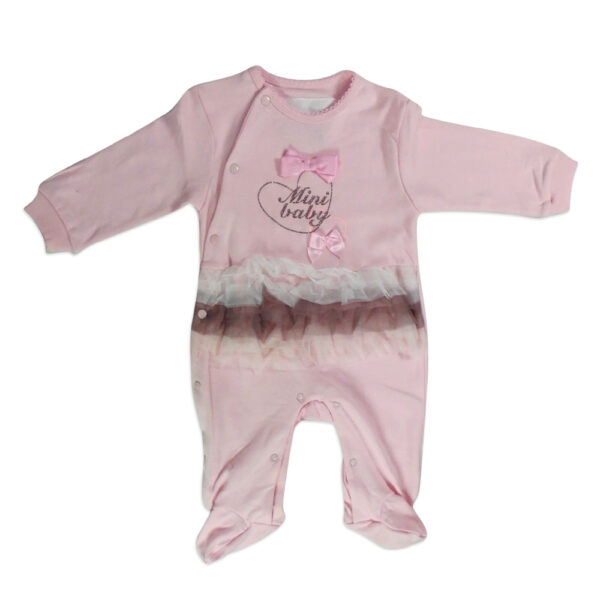 Mini Baby Full Sleeves Footed Romper - Pink-4647