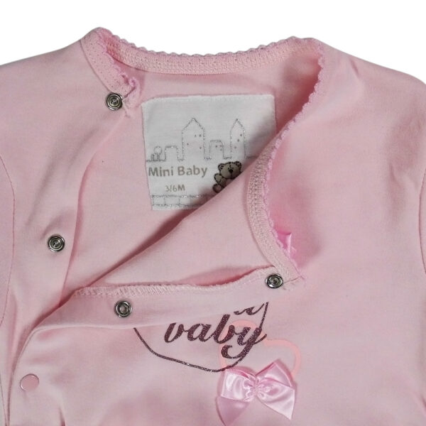 Mini Baby Full Sleeves Footed Romper - Pink-4649
