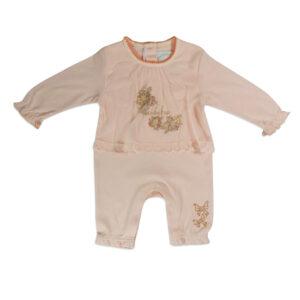 Mini Baby Full Sleeves Back Open Romper - Peach-0