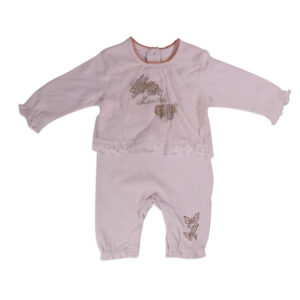 Mini Baby Full Sleeve Fancy Romper - Off Pink-0