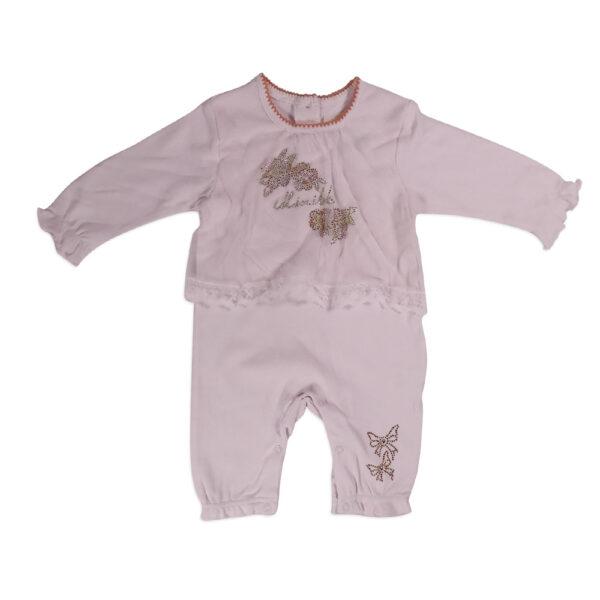 Mini Baby Full Sleeve Fancy Romper - Off Pink-0