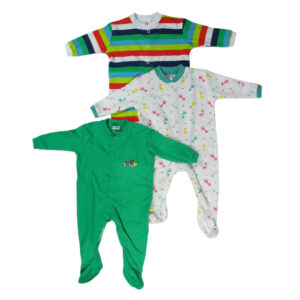 Mini Berry Footed Romper Set Of 3 - Green & White-0