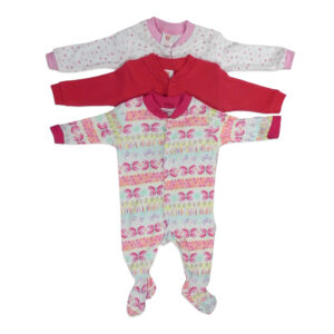Mini Berry Footed Romper Set of 3 - Pink & Red-0