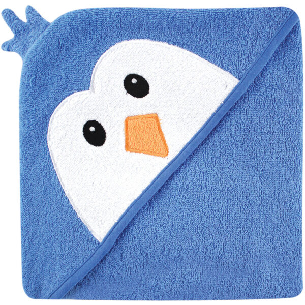 Luvable Friends Hooded Towel with Embroidery - Blue Penguin-0